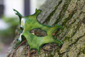 Green Oak Leaf Leather Mask by OsborneArts