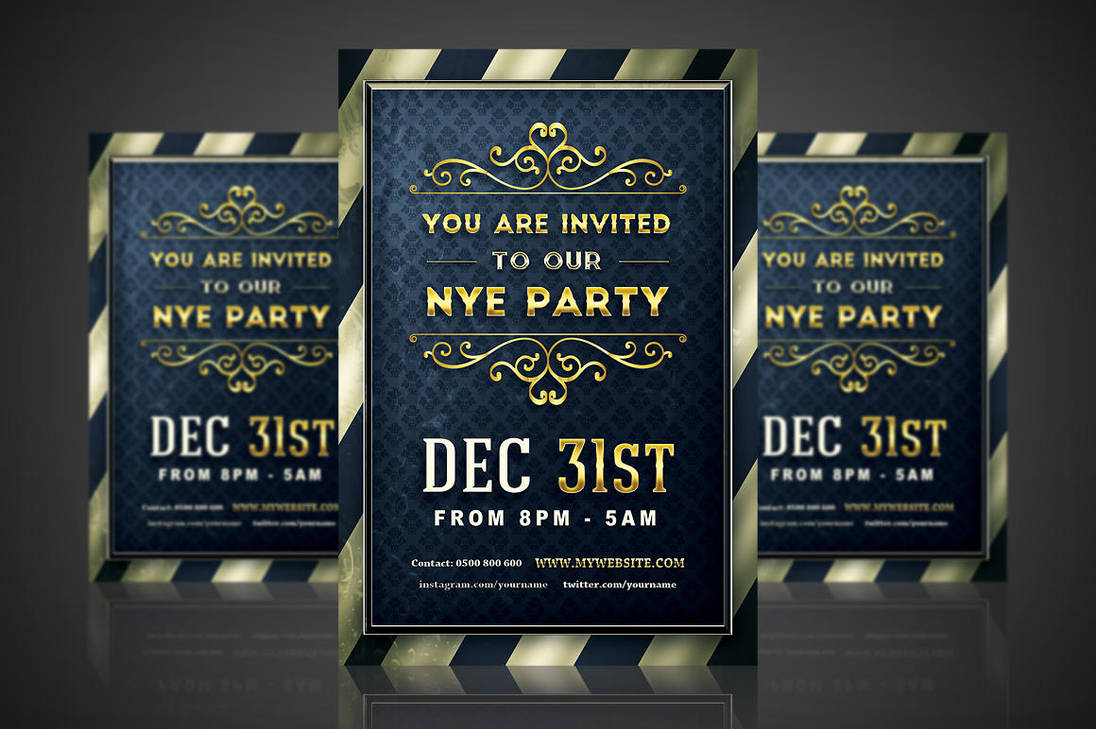 golden nye party invitation by vectormediagr on deviantart