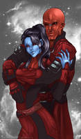 April LS- Red and Blue by Evanyell