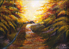 Autumn Forest Road in Acrylics. by PandiiVan