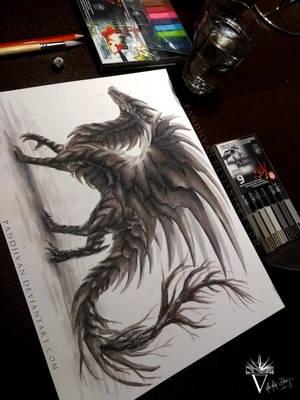 Watercolor Shadow Dragon. by PandiiVan