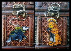 Keychains: Silver and Gold by MoonsongWolf