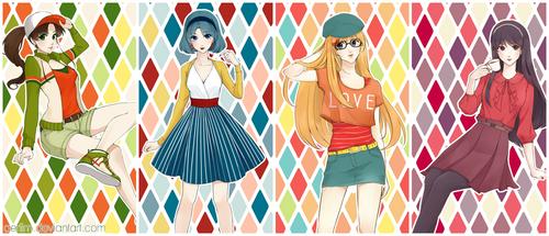 Sailor Moon Fashion Postcards by aeriim