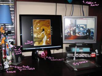 My desk has Dual-Monitor POWAH by Nikarma