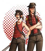 tf2: fem!scout and fem!sniper by Rellyz