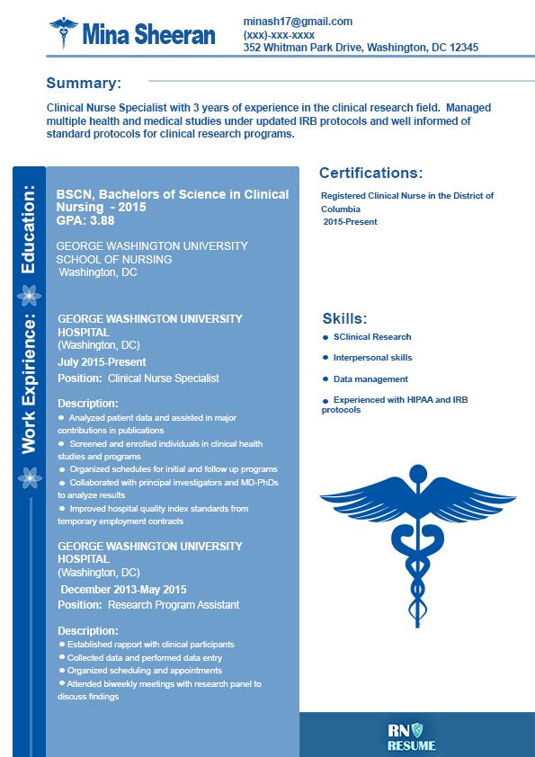 sample clinical nurse specialist resume