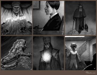 Spot illustrations - Leagues of Gothic Horror by JerryBoucher