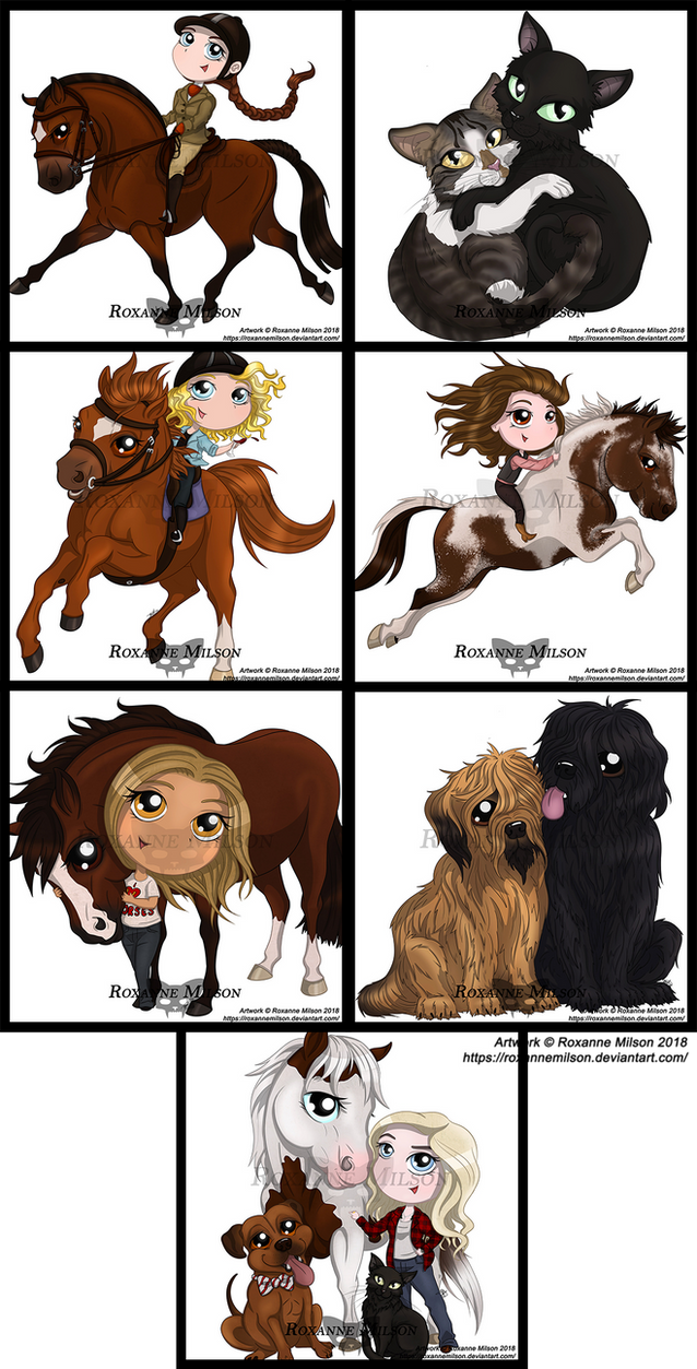 Chibi Commissions by RoxanneMilson