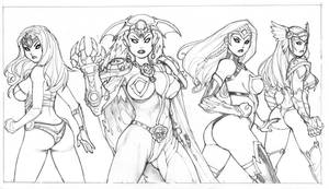 LeagueOfHeroines(GROUP SHOT).pencil by RyanKinnaird