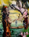 Transgender Buddha Faces Mara by elftantra