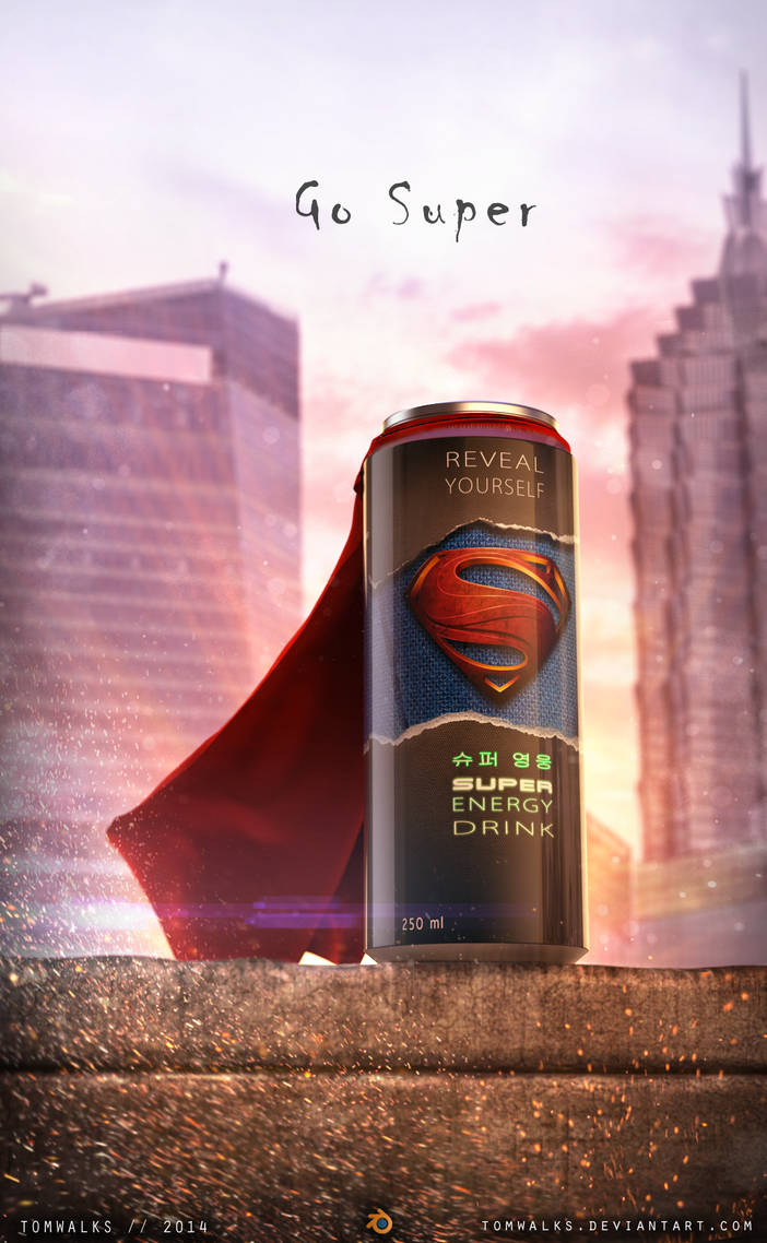 Superman Energy Drink (Blender 2.71) by TomWalks