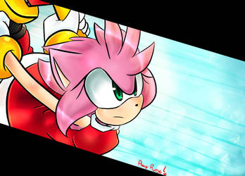 Amy Rose - Attack (colored version) owo by OsoIchi