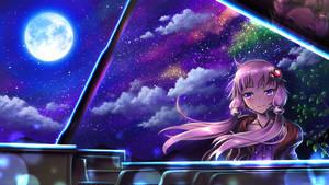 Yuzuki Yukari, under the moonlight by MyungsooLim