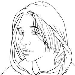 Hoodie Girl Lineart by westernphilosopher