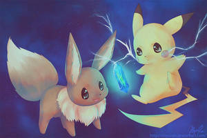 Pikachu and Eevee by yuerise