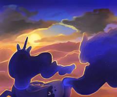 Luna's sunset by MyLittleGodzilla