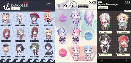 Kancolle, Re:Zero, Mystic Messenger Keychains by Dizzyworld2