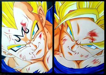 Majin Vegeta VS Goku by KiritoALG