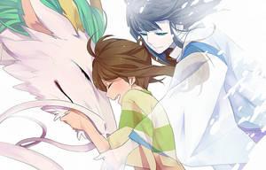 Spirited Away Haku and Chihiro Wallpaper by KittyChainsaw