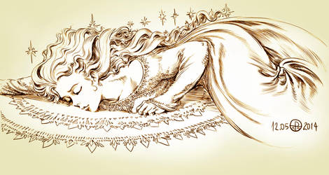 Queen Elsa fan art line by phallusdei
