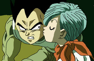 Bulma kisses Vegeta Drawing by CatCamellia