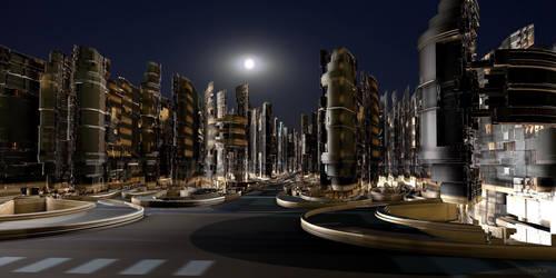 Future city by night by marijeberting