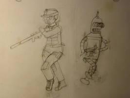 Leela and Bender Soldiers by Spaceman130