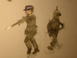 Leela and Bender Soldiers (Colored) by Spaceman130