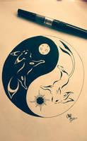 Yin-Yang Umbreon and Espeon tribal tattoo  by Otakuchips