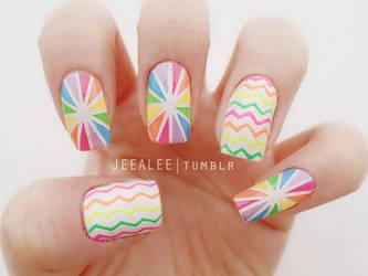 Neon Lollipop Nails by jeealee