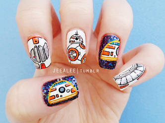 BB-8 Nails   Star Wars: The Force Awakens by jeealee