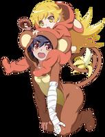 Shinobu  Kanbaru Suruga Monkey - Monogatari Series by Amassu