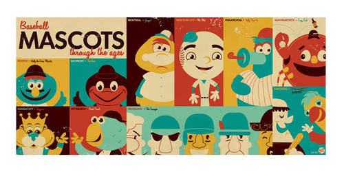 Baseball Mascots thru the ages by Montygog