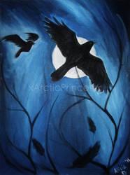 Crows Under Moonlight by SereneSeptember