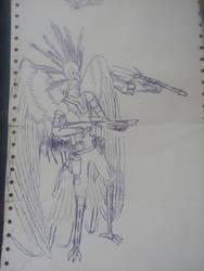 Pen Stuff 08 (secretary bird character) by Martinkarovic