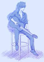 Guitar Player Sketch by Khateerah