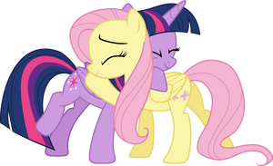 Twilight Sparkle and Fluttershy Hugging by CloudyGlow