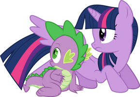 Twilight Sparkle and Spike by CloudyGlow