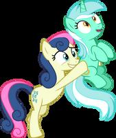 Bon Bon carrying Lyra Heartstrings by CloudyGlow