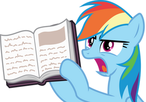 Rainbow Dash holding a book by CloudyGlow