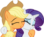 Applejack and Rarity squish cheeks by CloudyGlow