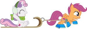 Scootaloo and Sweetie Belle sled ride by CloudyGlow