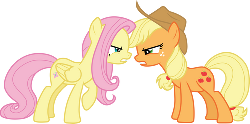 Fluttershy and Applejack argue by CloudyGlow