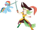 Rainbow Dash sword-fighting Captain Celaeno by CloudyGlow