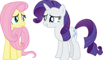 Fluttershy and Rarity by CloudyGlow