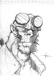 Uncle Hellboy Sketch by sangmeister