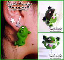 Zombie cat (bites your ear) stud earring by Initta