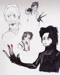 Edward Scissorhands Sketches by STRUDELL
