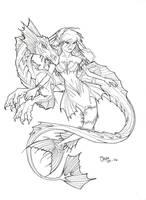 Dragon and mermaid by K0iKiTt3N