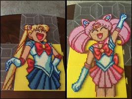 Sailor and Chibi Moon Perler Bead Art by jnjfranklin